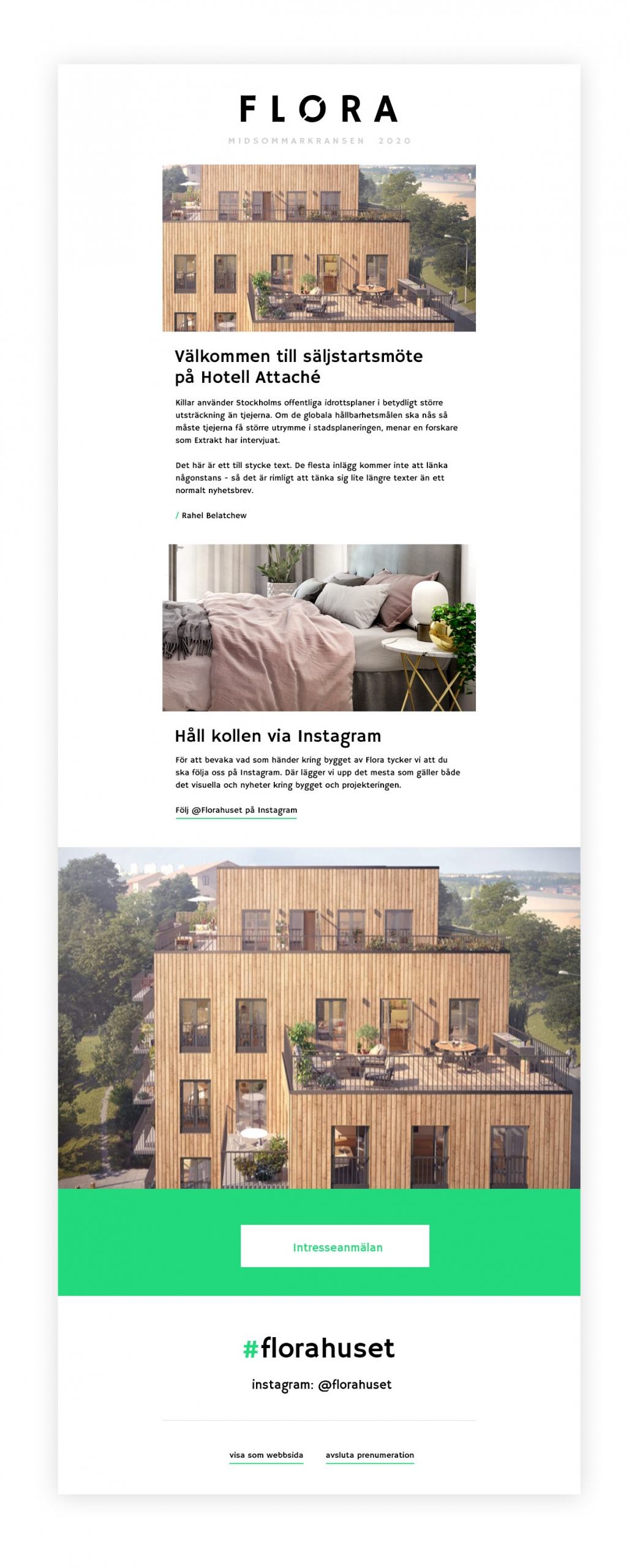 Flora bostadsprojekt Wonderfour digitalbyrå