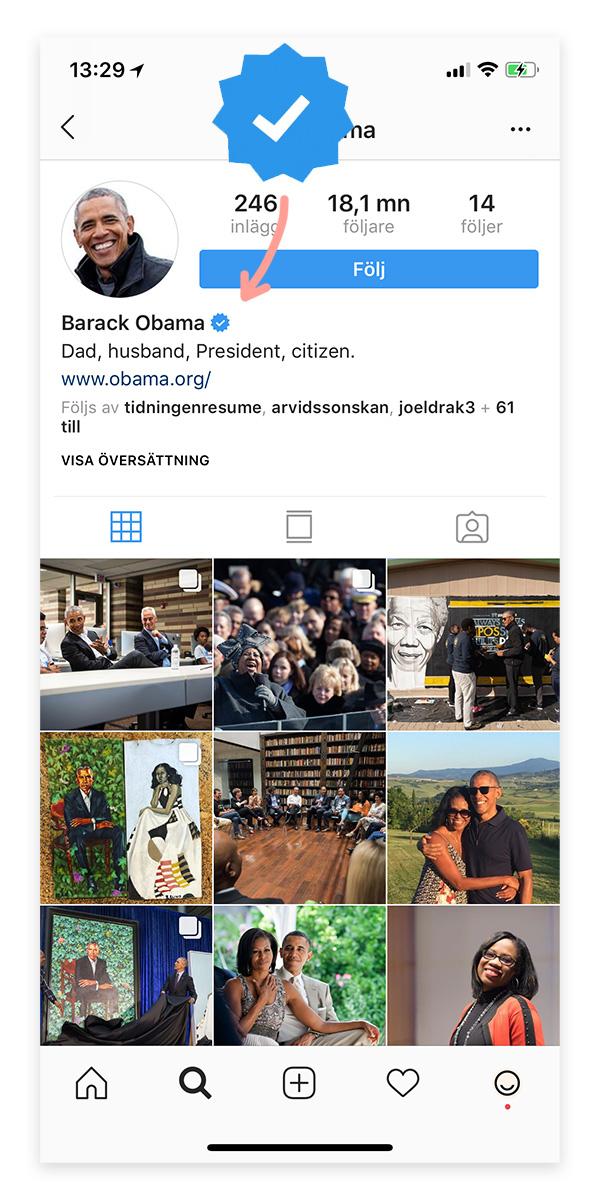 Instagram verifierad