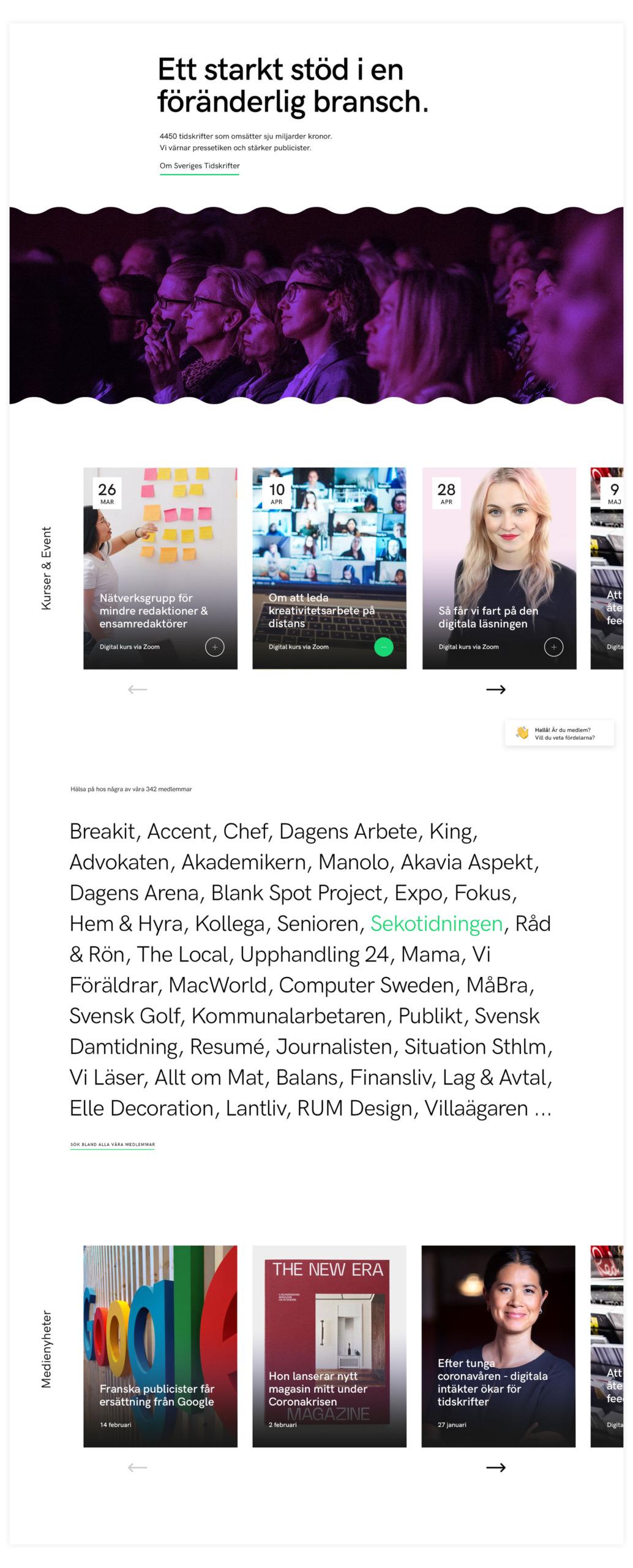 Sveriges Tidskrifter webbplats startsida